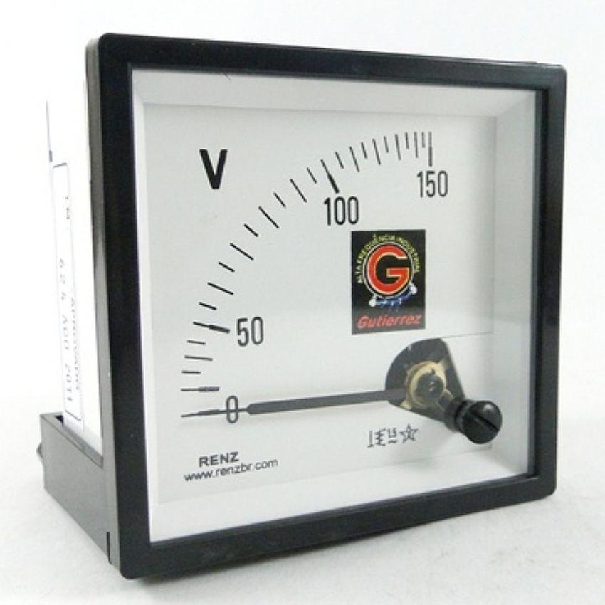 Voltímetro Analógico Frontal 72 x 72 Renz - Diversas Voltagens