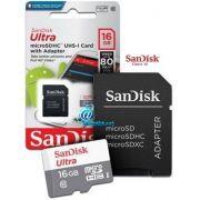 Cartão de Memória 16GB SanDisk Ultra® microSDHC™ CL10 UHS-I com Adaptador