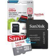 Cartão de Memória 32GB SanDisk Ultra® microSDHC™ CL10 UHS-I com Adaptador