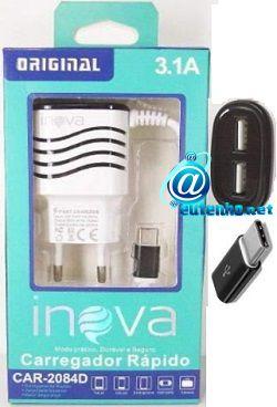 Carregador de celeular USB-C rápido e inteligente CAR-2048D 3.1a Original Inova