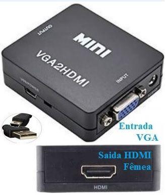 Conversor VGA-audio e video para HDMI-fêmea para a conversão analógica para digital.