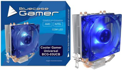 Cooler gamer universal INTEL e AMD Bluecase com led azul