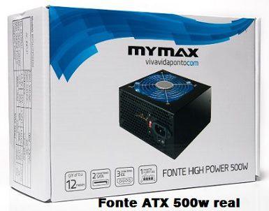 Fonte gamer ATX 500W Real com led azul Mymax