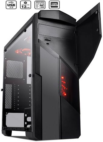 Gabinete Gamer Mid Tower Galaxy USB 3.0 preto fosco com cooler em LED vermelho