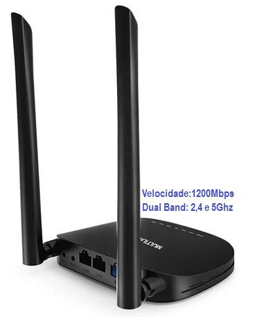 Roteador e Repetidor Wireless AC 1200Mbps Dual Band Multilaser-RE185