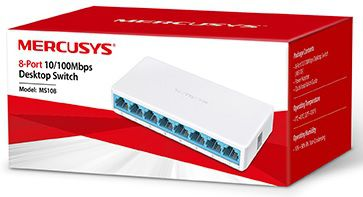 Switch 8 Portas Mercusys MS108 10/100Mbps