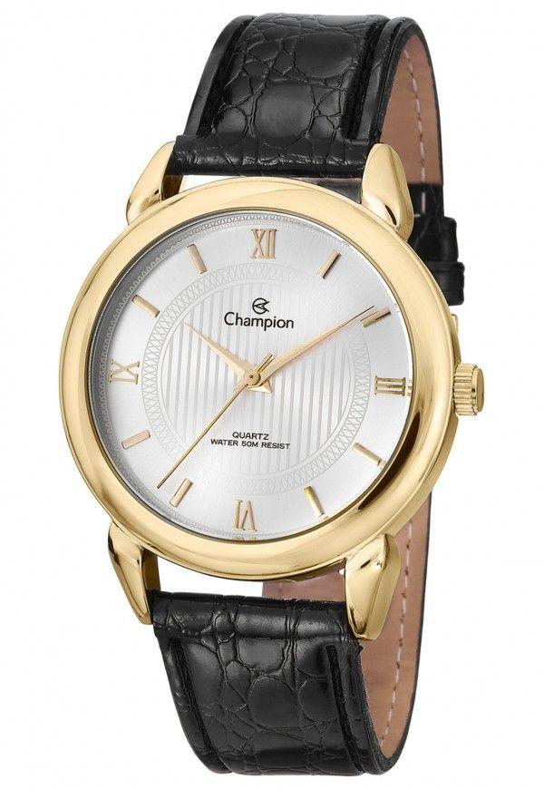13807574563 Relógio Champion de Couro Unissex CH22724B Preto