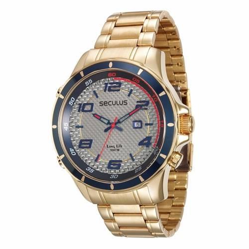 c352e69bbbe Relógio Seculus Masculino Analógico 28768GPSVDA1 Dourado