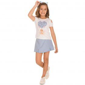 Conjunto Infantil Minimour Shorts Saia e Blusa