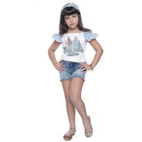 Conjunto Kukixo Blusa Short Jeans