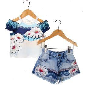 Conjunto Kukixo Blusa Short Jeans Bordado