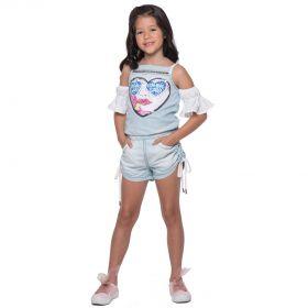Macaquinho Infantil Kukixo Jeans