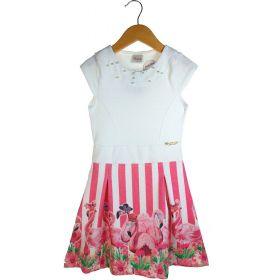 Vestido Alekids Flamingos Relevo