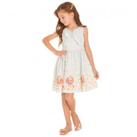Vestido Infantil Minimour Franzido Laço