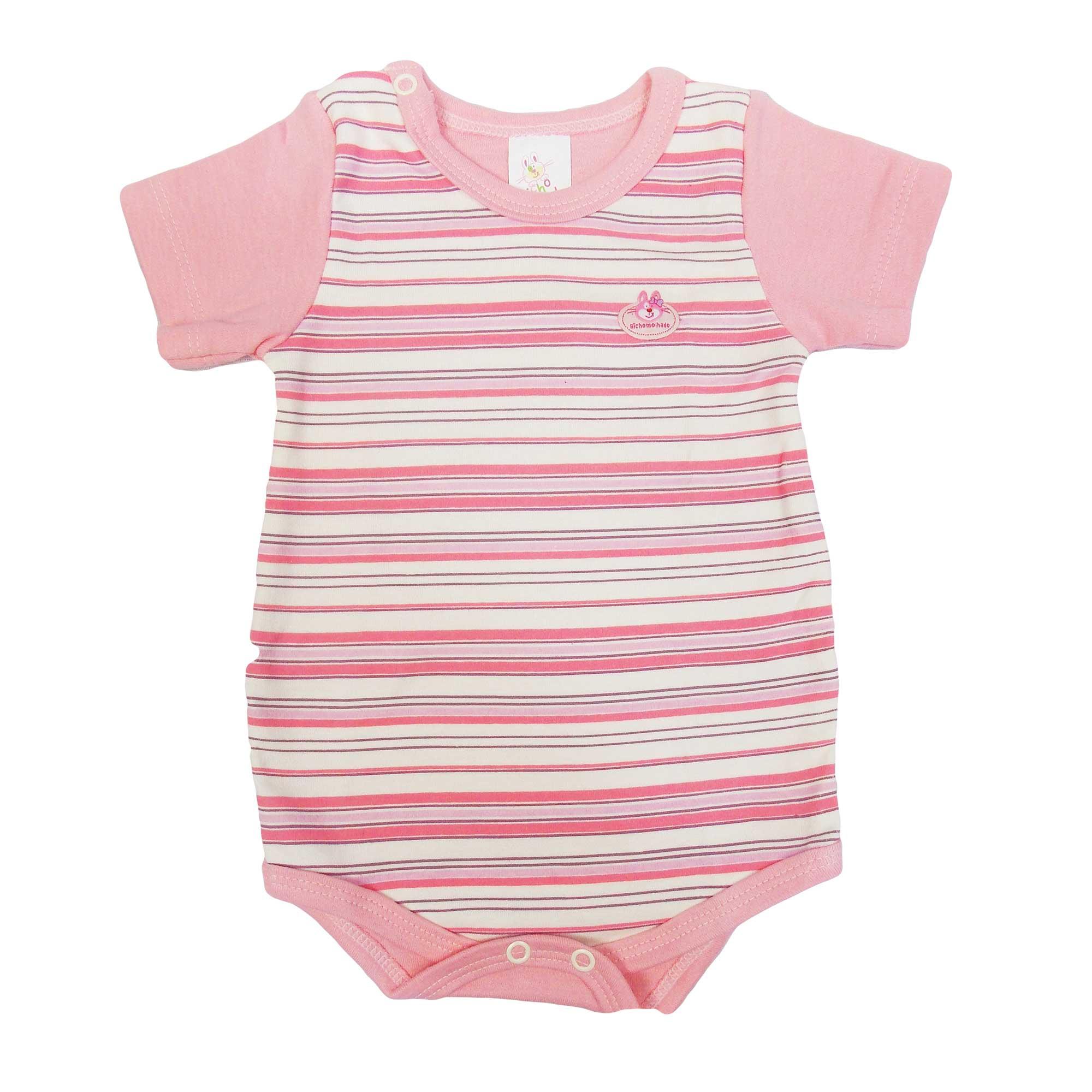 Body Bicho Molhado Bebê Manga Curta Bordado