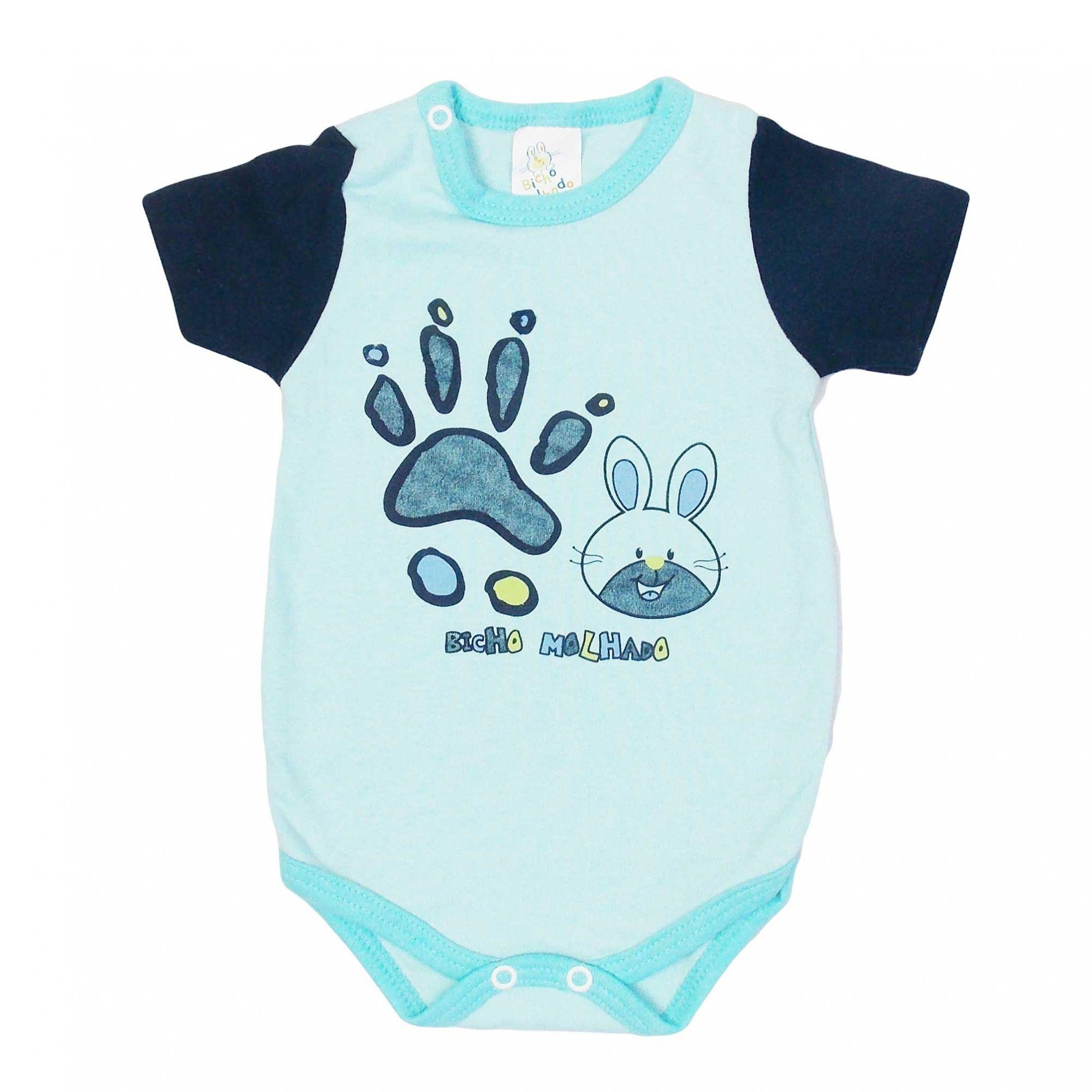 Body Bicho Molhado Bebê Manga Curta Coelinho