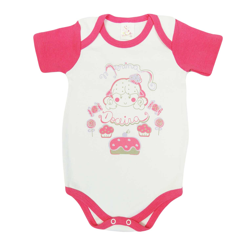 Body Bicho Molhado Bebê Manga Curta Menina