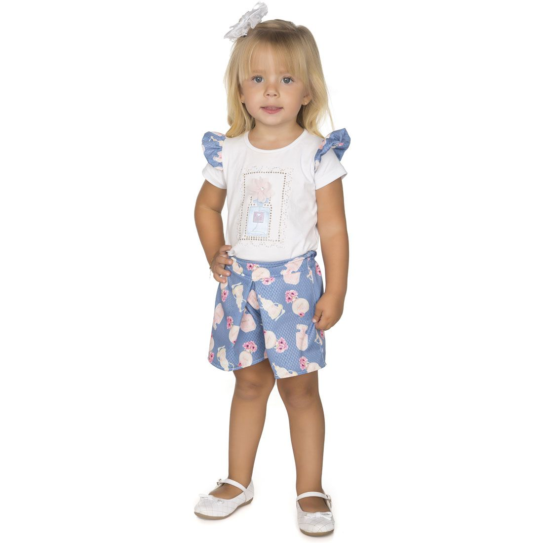 441dbd6b26 conjunto carinhoso menina blusa short bege 12 lst1