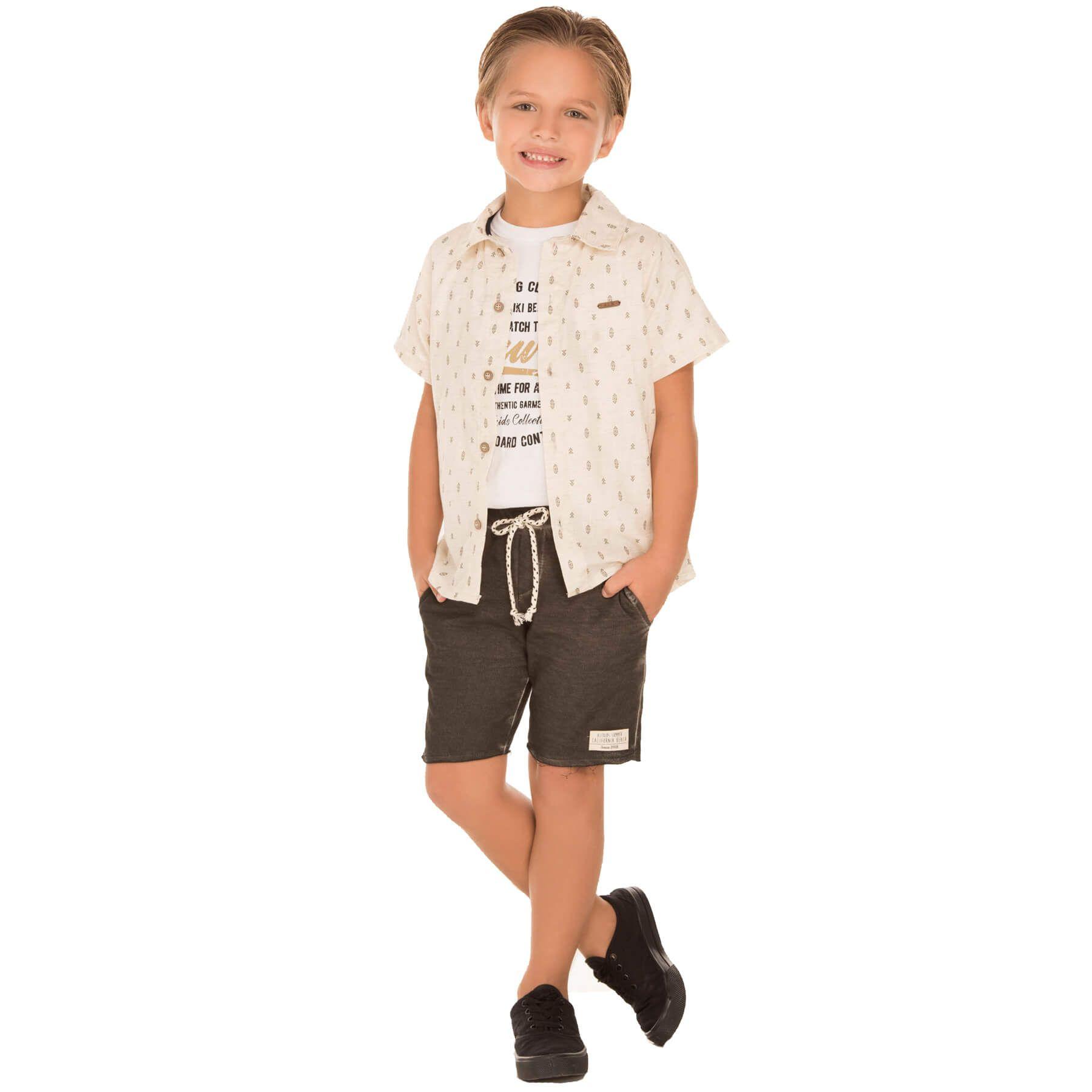 Conjunto Alekids Camisa Camiseta e Bermuda