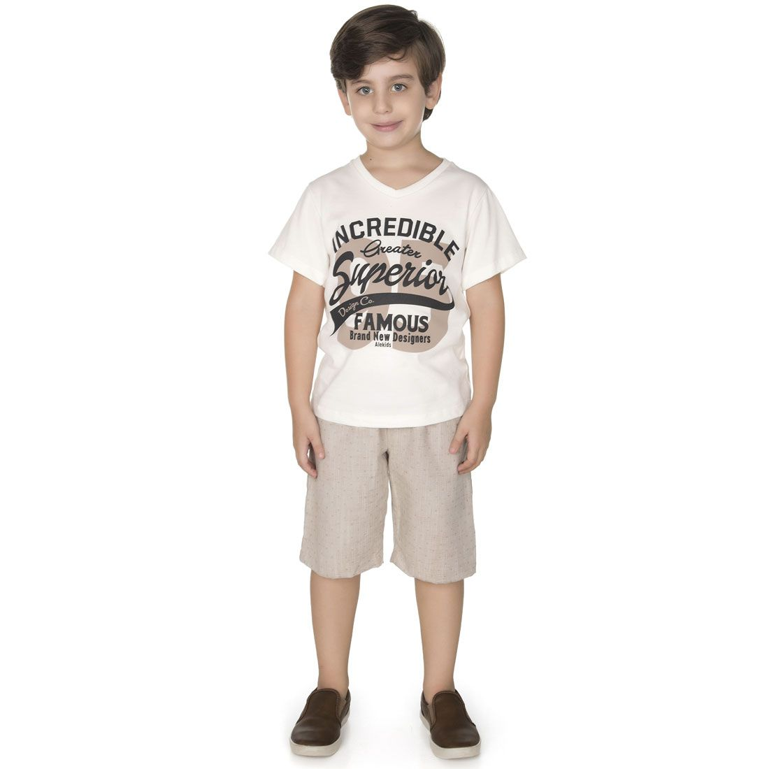 Conjunto Alekids  Camiseta Bermuda Famous