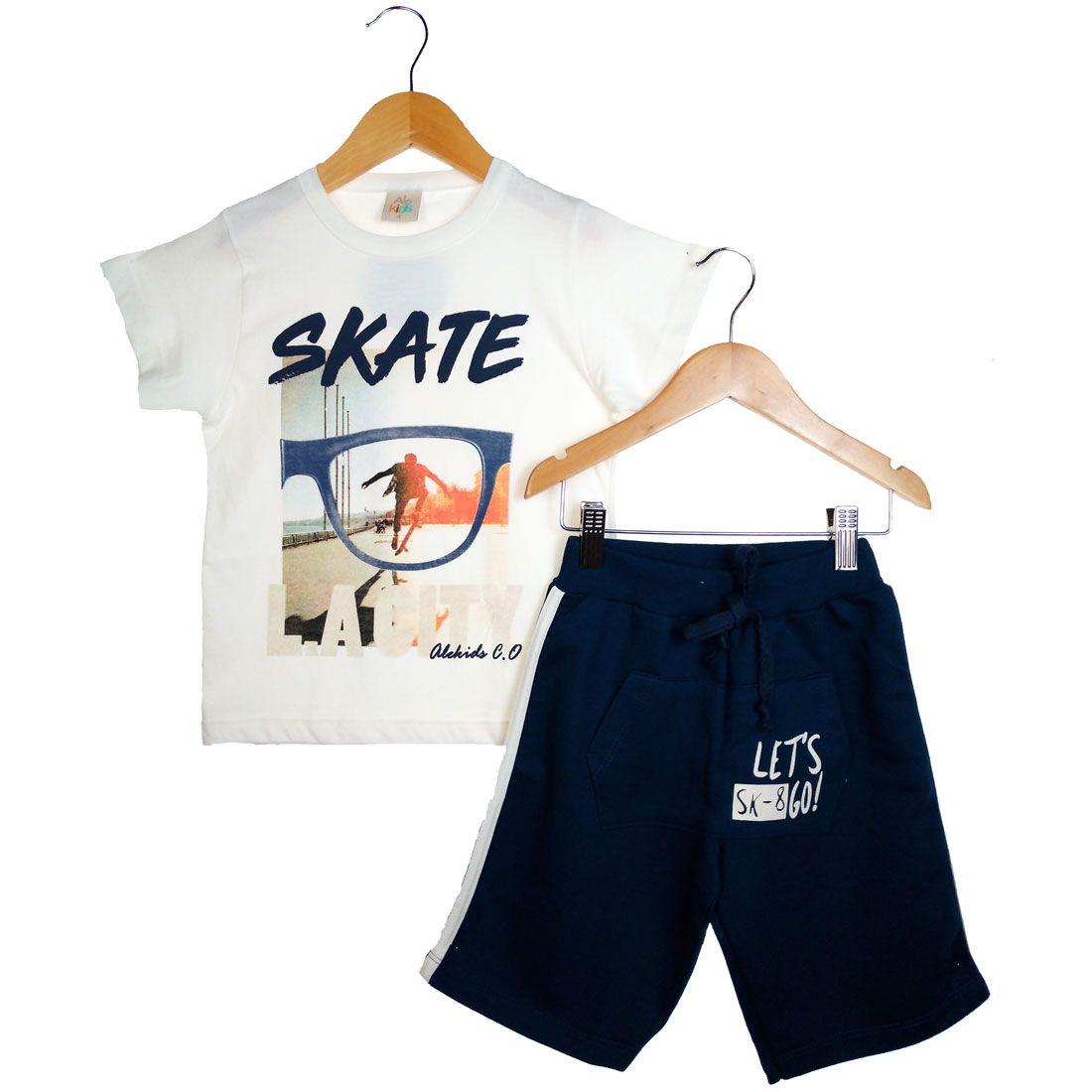 Conjunto Alekids Camiseta Bermuda Skate