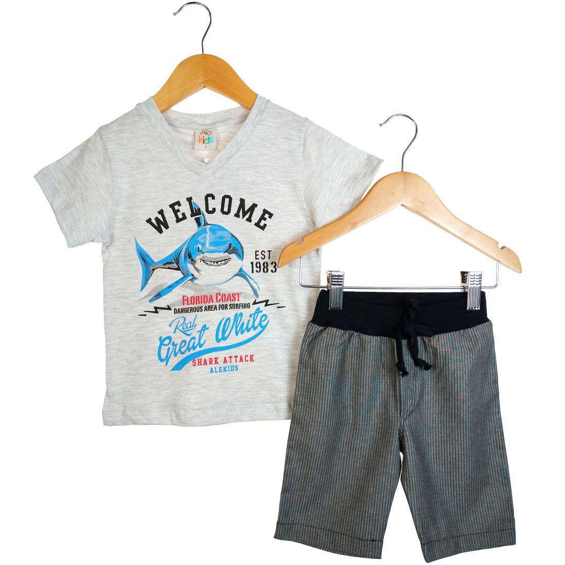 Conjunto Alekids  Camiseta e Bermuda Welcome