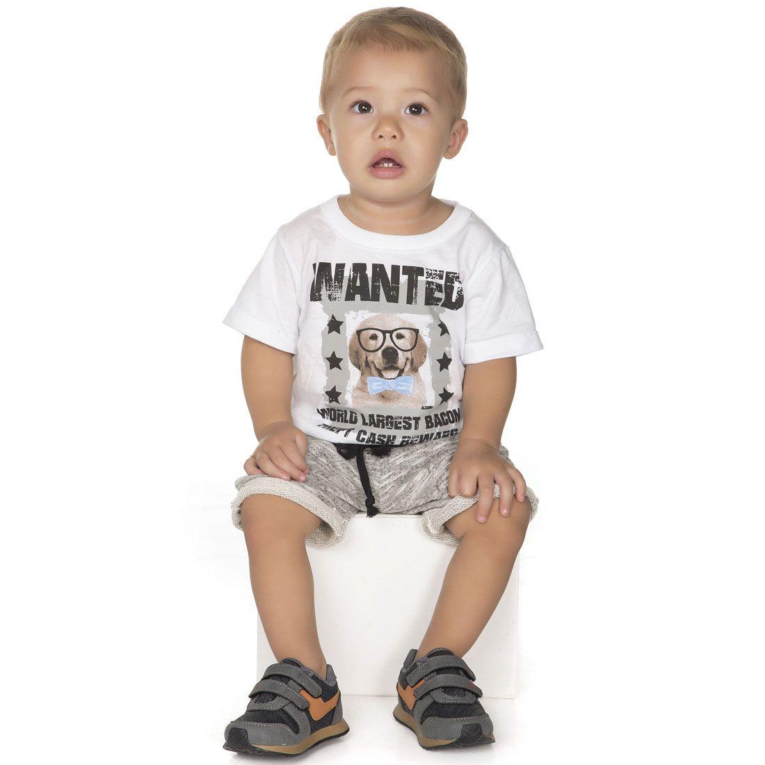 Conjunto Alekids  Camiseta e Short Cachorrinho