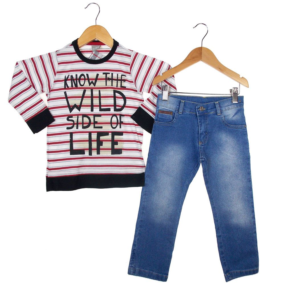 c094a953a4 Conjunto Carinhoso Blusa Calça Jeans - Morebaby Loja Infantil ...