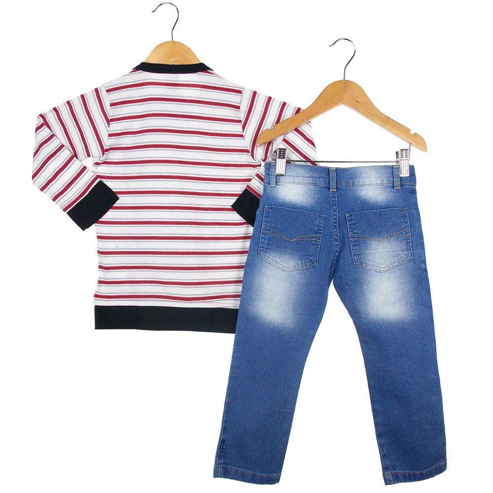 Conjunto Carinhoso Blusa Calça Jeans