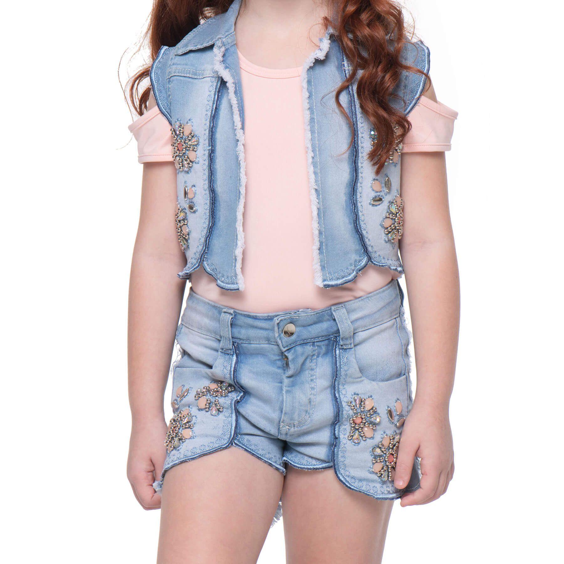 Conjunto Infantil Kukixo Jeans Bordado