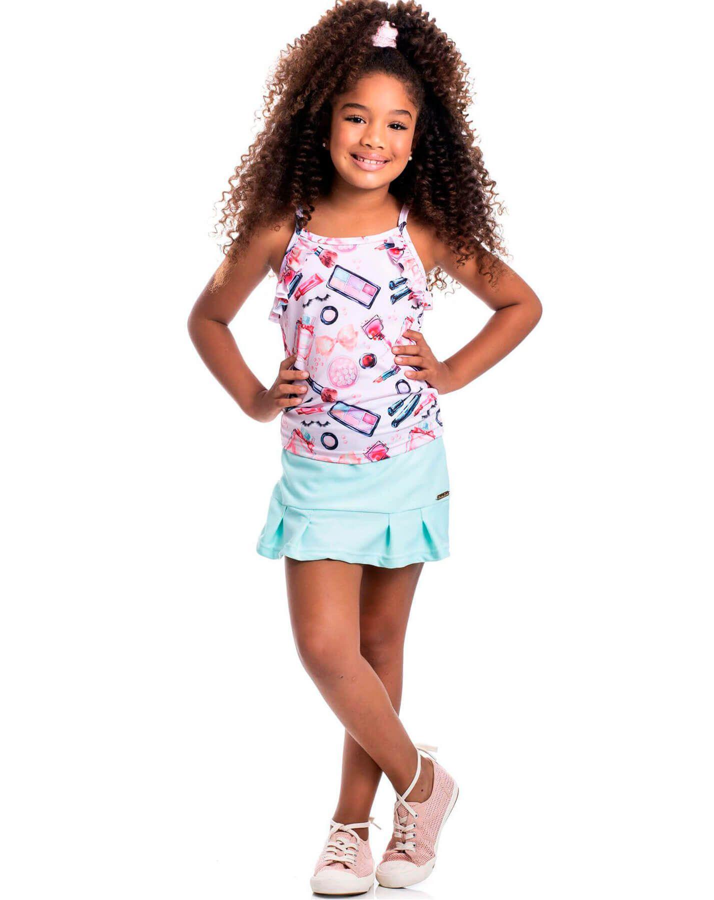 Conjunto infantil Randa Mundu Crepe Short/Saia