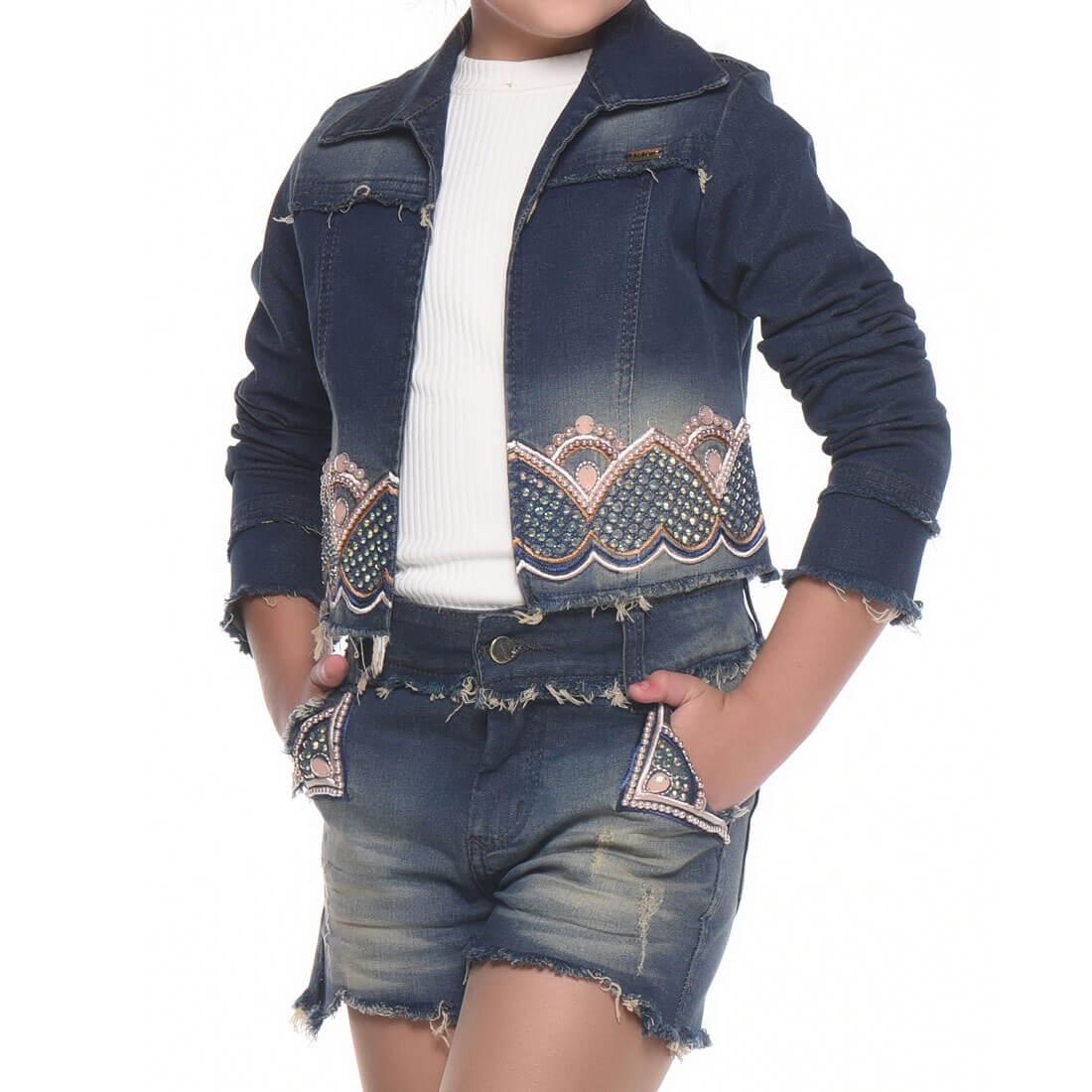 Conjunto Kukixo Jeans Bordado