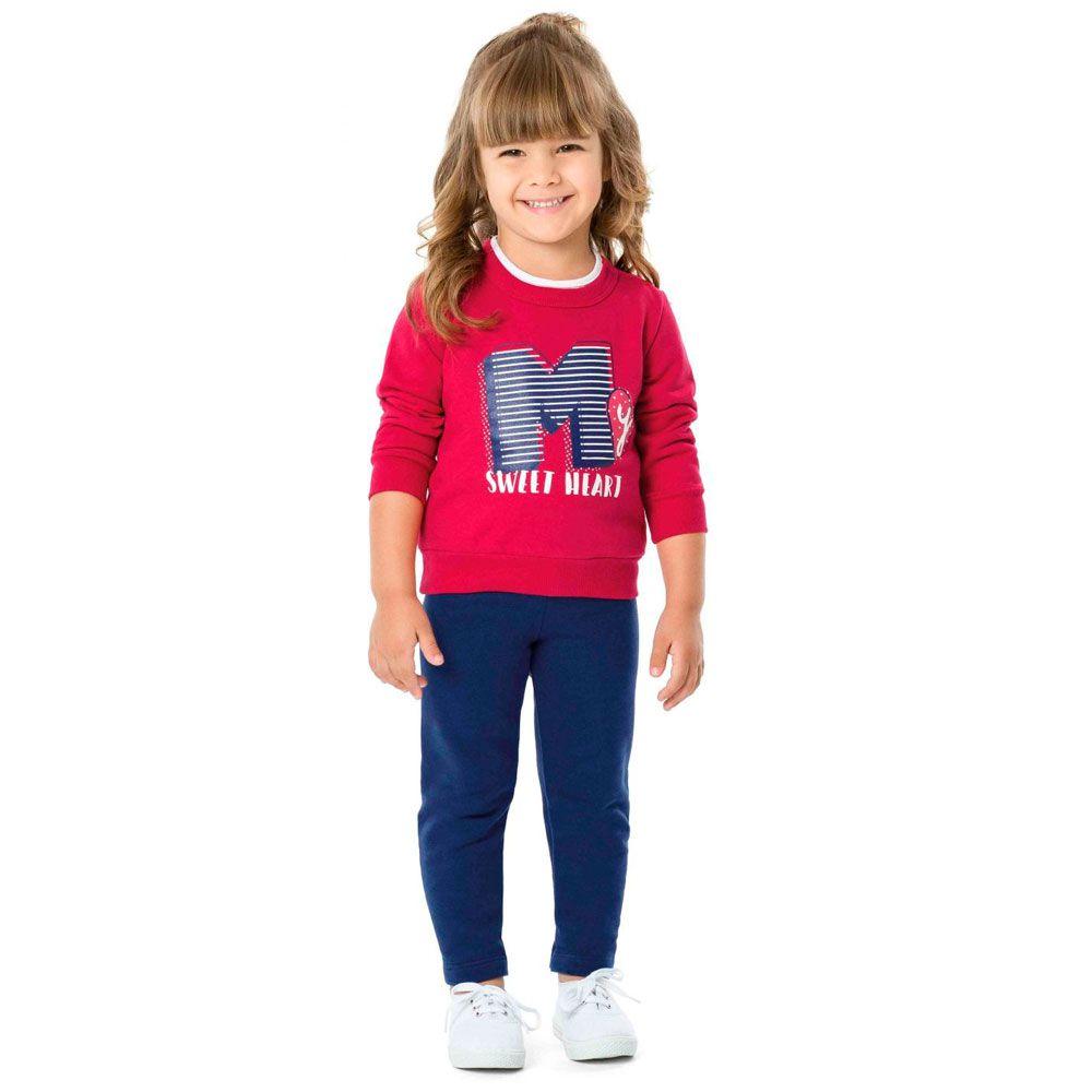 Conjunto Malwee Moletom Infantil Heart