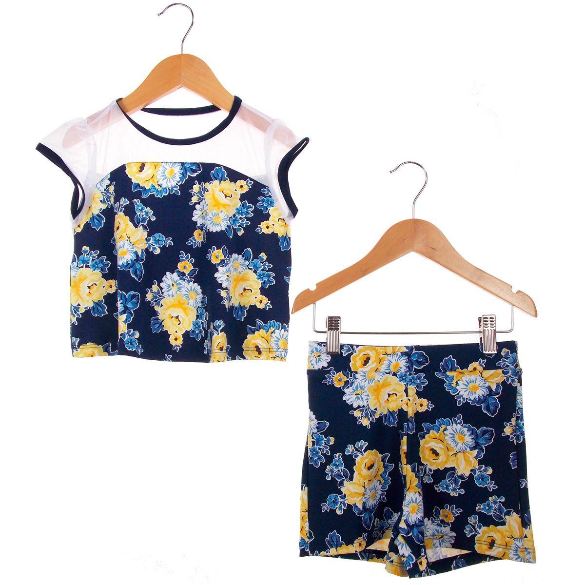 Conjunto Turma da Malha Memy Blusa Short Floral