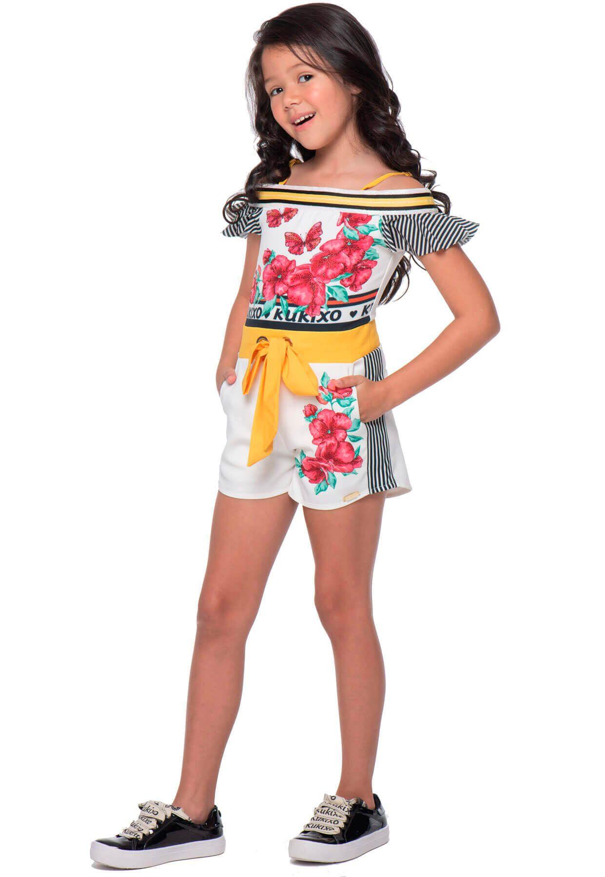 Macaquinho Infantil Kukixo  Cropped Floral