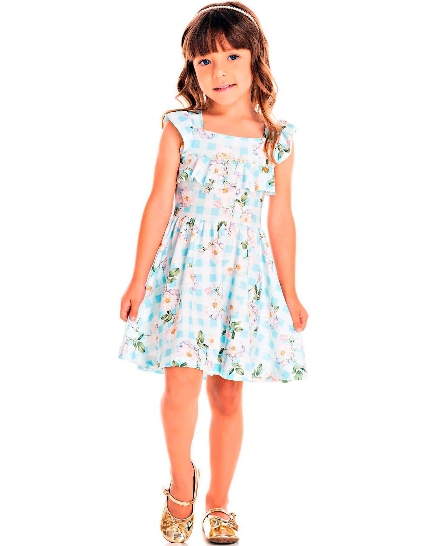 Vestido Infantil Pic Nic Em Crepe