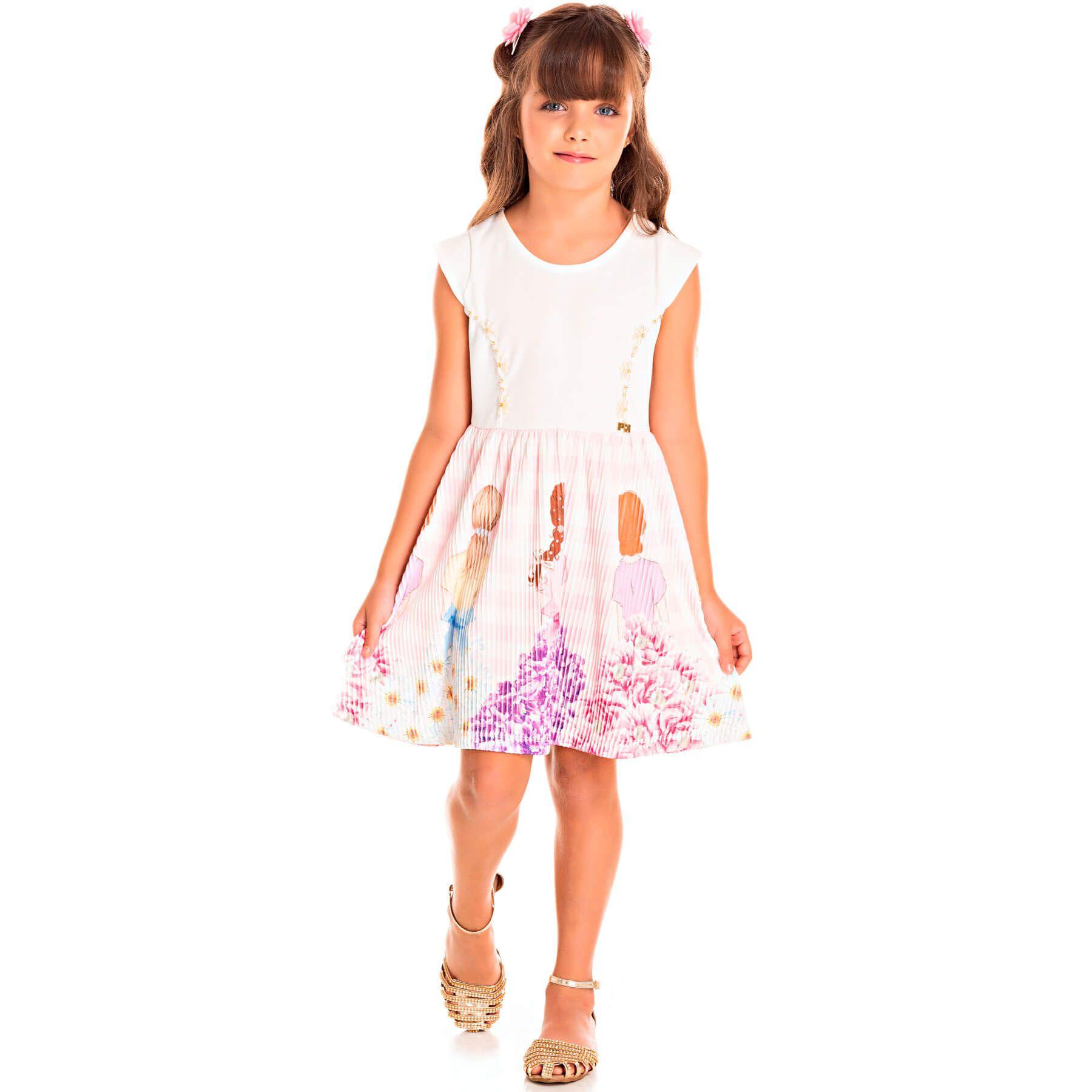 Vestido Infantil Pic Nic Jacquard Plissatex