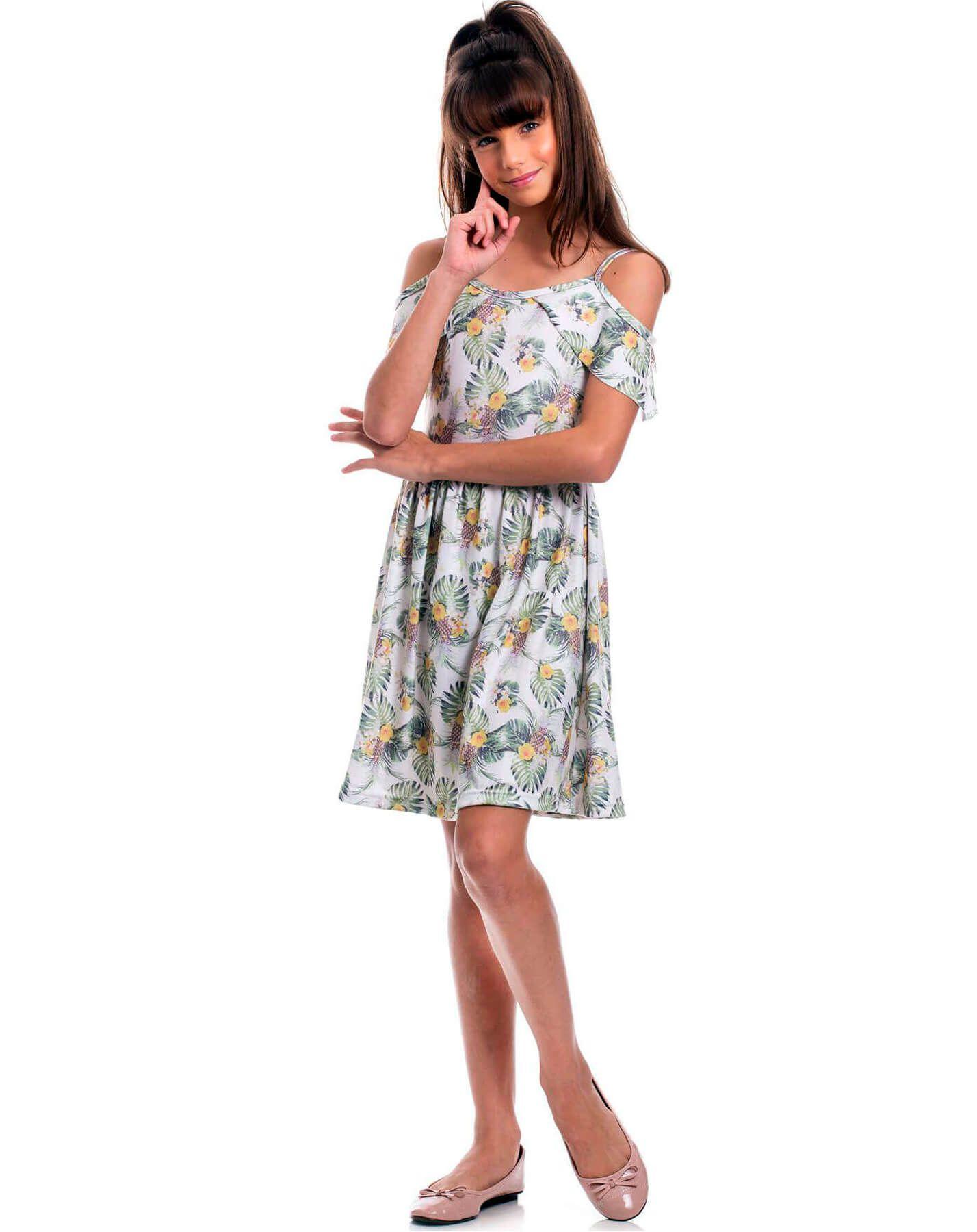 Vestido Juvenil Randa Mundu Cotton Fiado