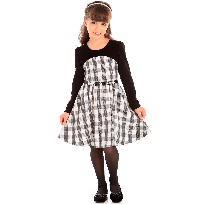Vestido Pic Nic  Manga Longa Xadrez