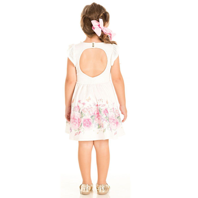 Vestido Pic Nic Renda Floral Pedraria