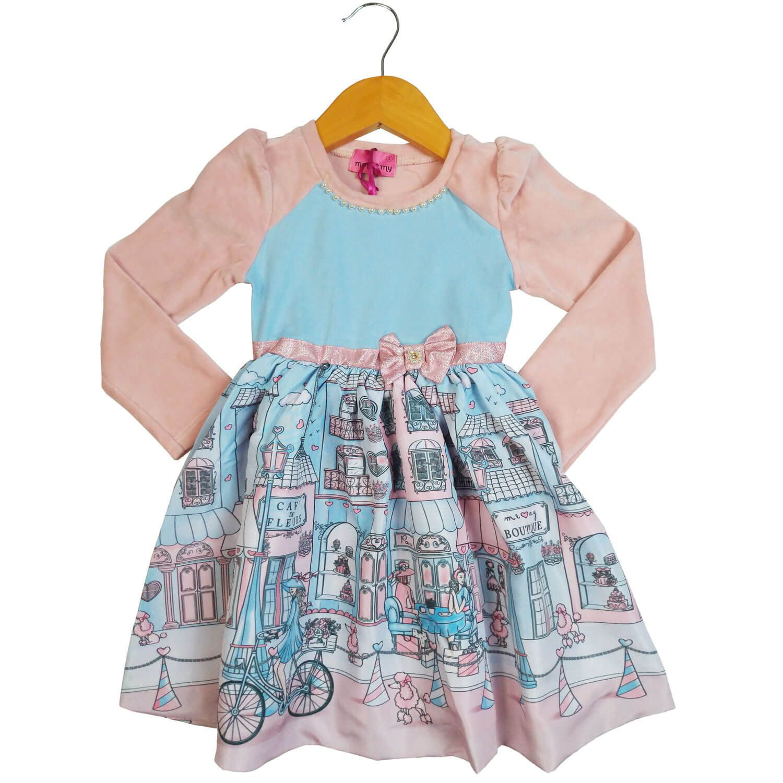 Vestido Turma da Malha Memy Manga Longa