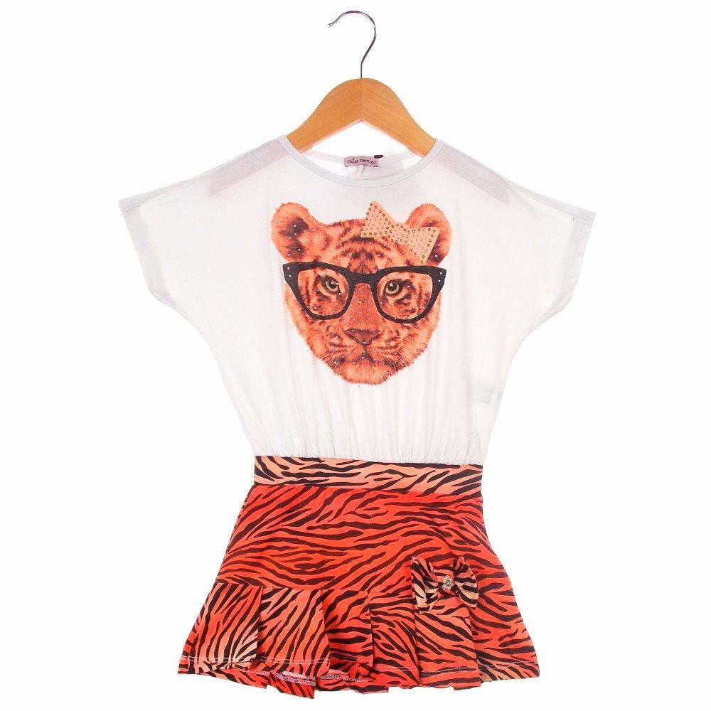 Vestido Turma da Malha Menina Curto Tigre