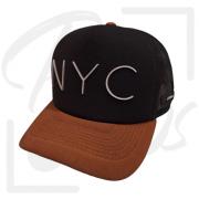 Boné NYC Preto com aba Marrom