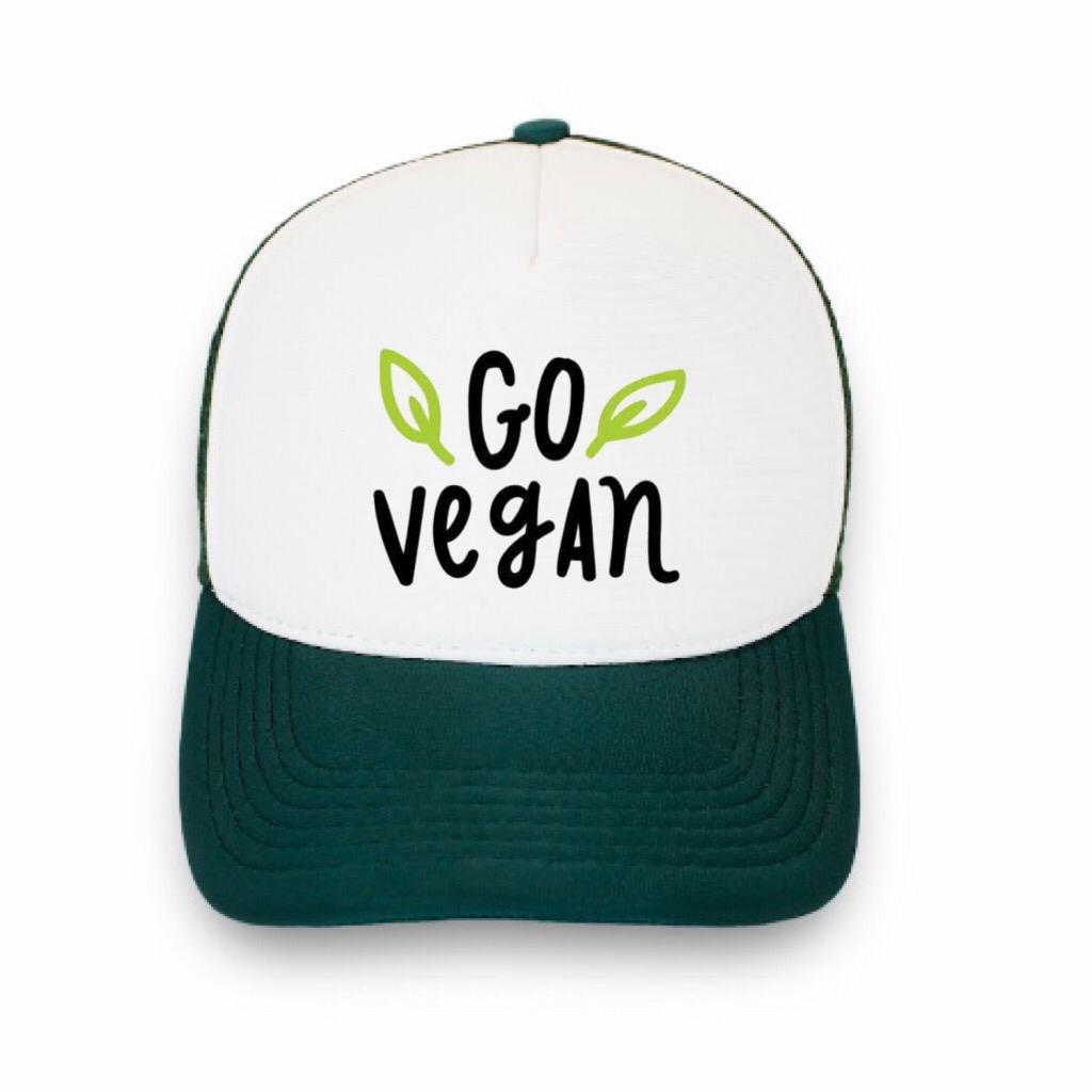 Boné trucker personalizado - Go Vegan