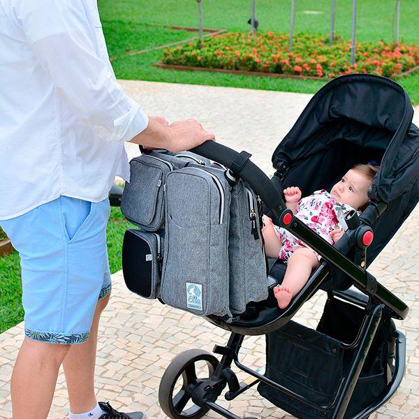 Bolsa Maternidade que vira Berço Portátil e Trocador - Cinza Mescla