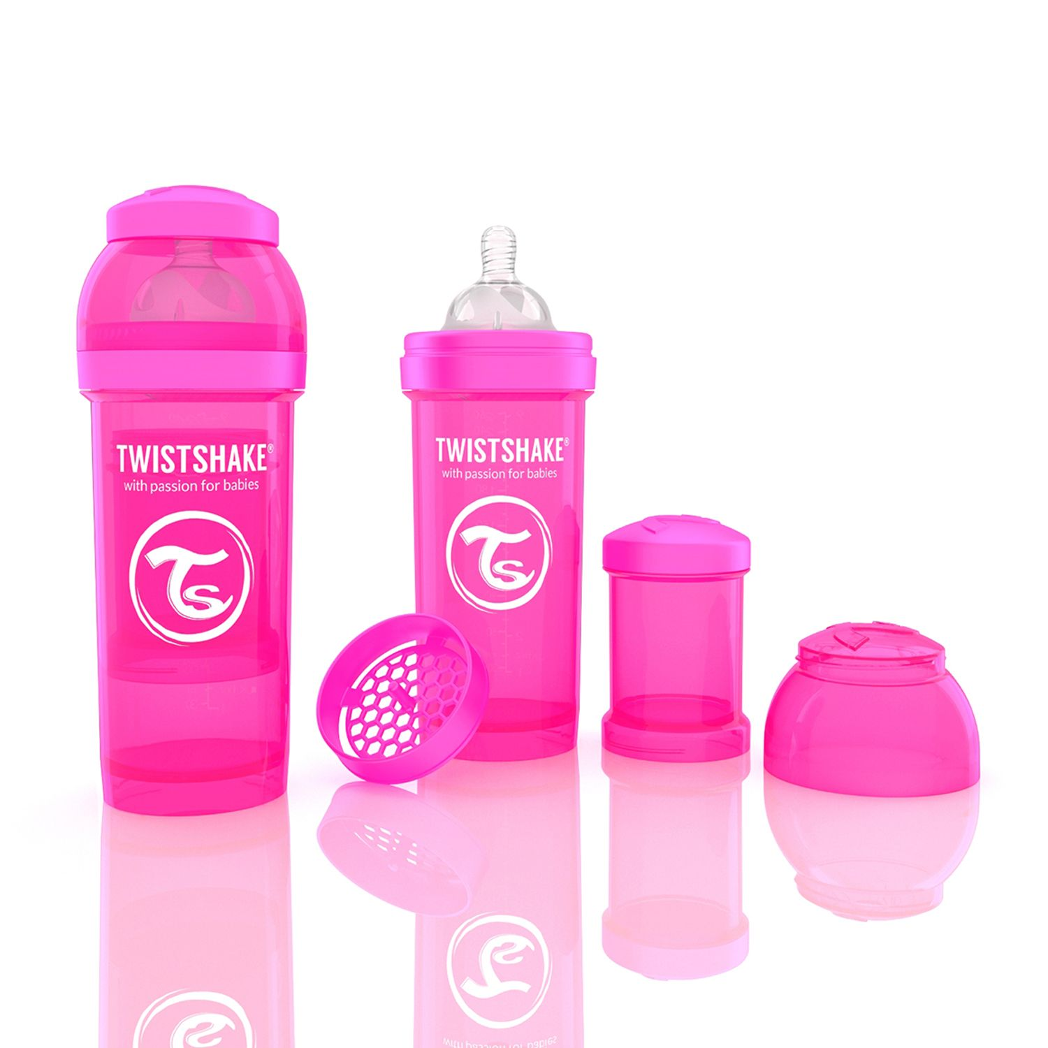 Mamadeira Anti-Cólica 260ml Rosa - Twistshake