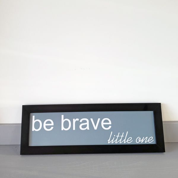 Quadrinho Infantil Be Brave Azul/Preto 13X38cm - Ella Baby Decor Collection