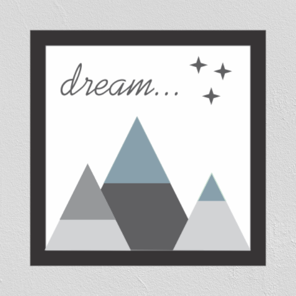 Quadrinho Infantil Montanhas Dream 23X23cm - Ella Baby Decor Collection