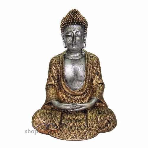 Buda Tailandês Sentado cor Ouro Estátua Estatueta.