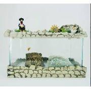 Aquário com fonte Grande decorado Pescador Com Brindes.